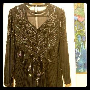 Epic 1980's glitz & glam gown w/peekaboo neckline